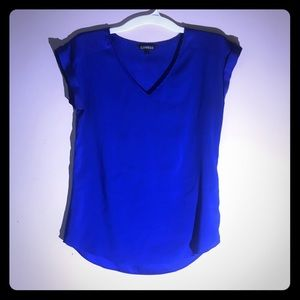 Women's small blouse royal blue capped sleeves